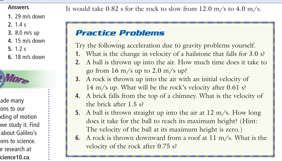 9 Acceleration – Acceleration Due to Gravity Worksheet